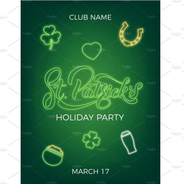 neon st patricks day invitation format
