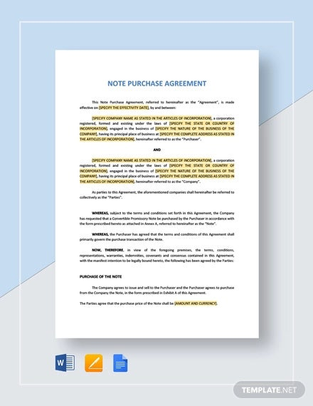 note purchase agreement template