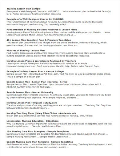 5+ Nursing Lesson Plan Templates - PDF | Free & Premium