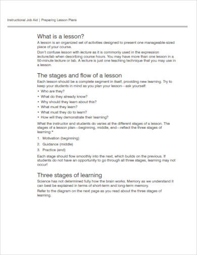 nursing lesson plan sample