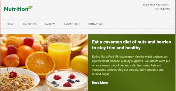 Nutrition - 16 Banner Images WordPress Theme