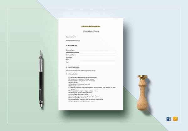 office cleaning contract template mockup2