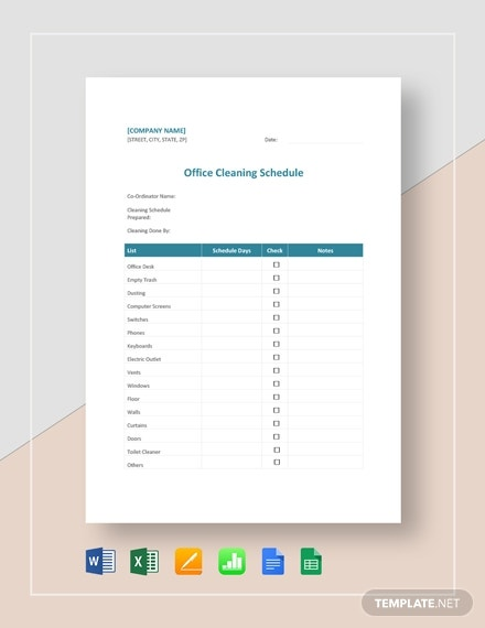 Office Cleaning Schedule Template - 11+ Free Word, PDF ...