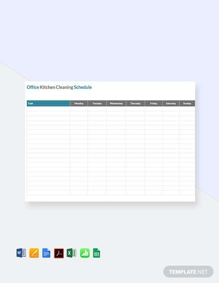 office kitchen cleaning schedule template