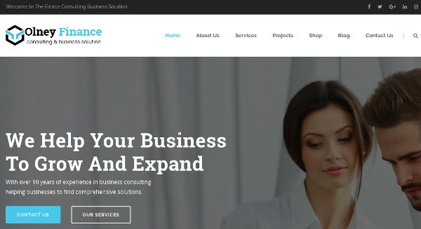 olney finance responsive wordpress themes
