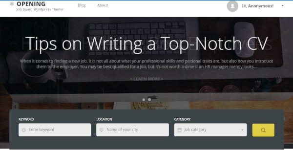 opening-customized-wordpress-theme