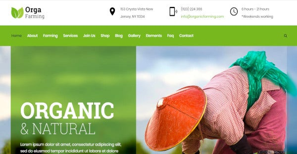 orga farm – drag drop wordpress theme