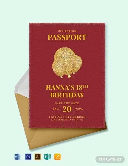 passport birthday invitation card example