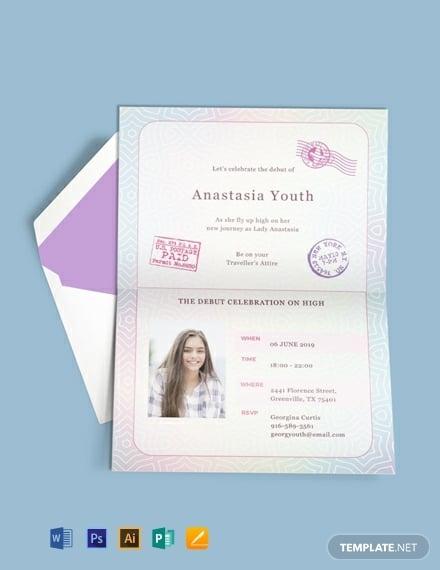 passport debut birthday invitation design