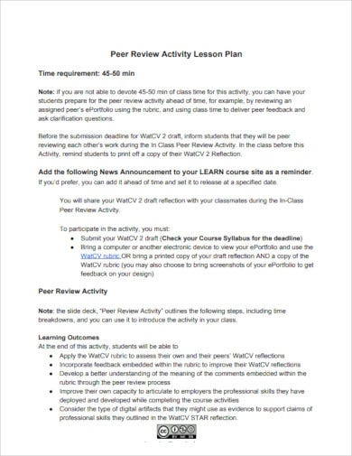 peer review activity lesson plan