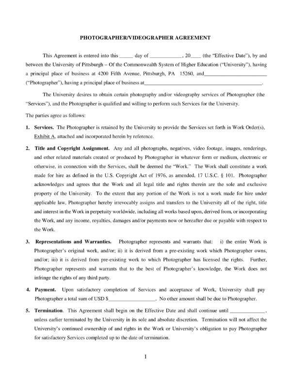 photographer agreement form 1