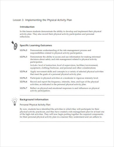 physical lesson activity plan