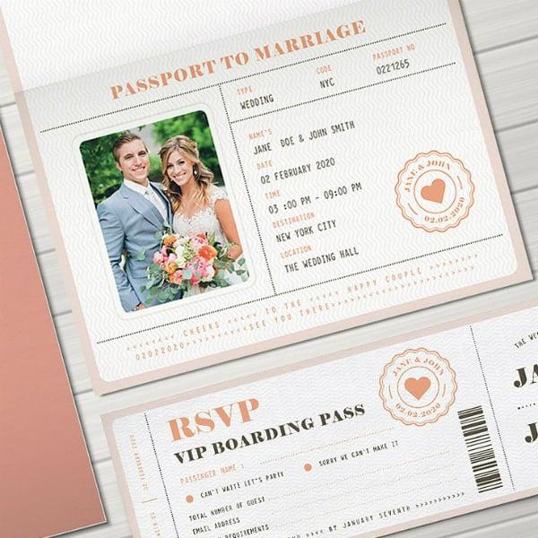 pink marriage passport invitation design