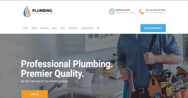plumbing customized wordpress theme