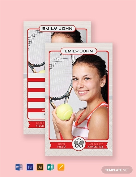 portrait tennis trading card layout