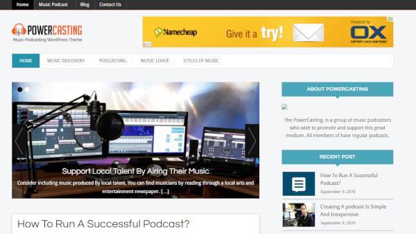 powercasting – seo friendly wordpress theme
