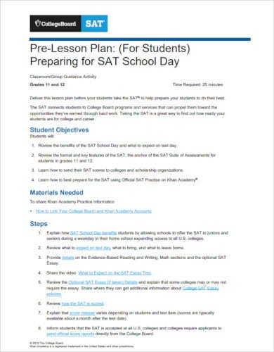 pre college lesson plan template