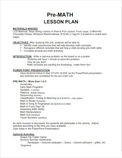 pre math lesson plan template