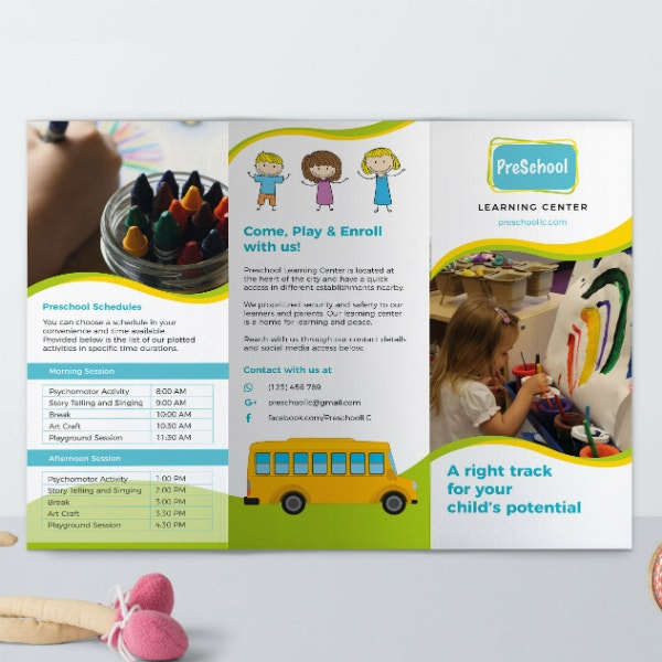preschool learning center brochure sample
