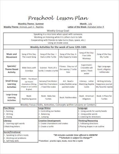 preschool lesson plan example