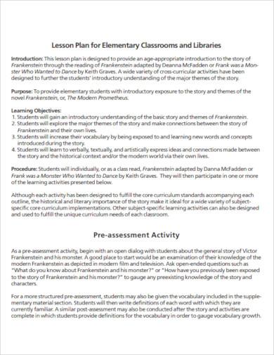 printable elementary lesson plan