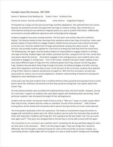 printable lesson plan summary