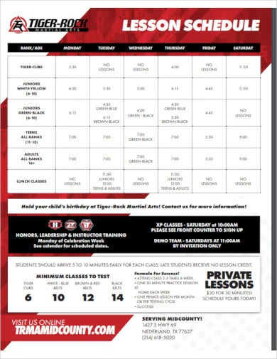 printable lesson schedule
