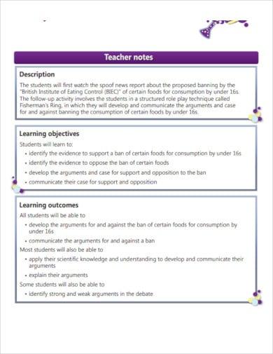 printable teachers note template