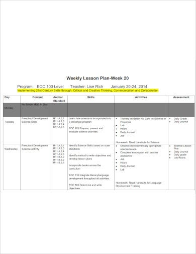 printable weekly lesson plan template