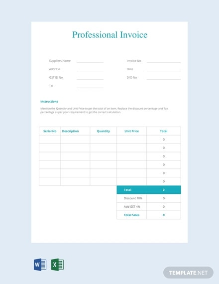 professional invoice template