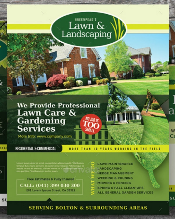 professional lawn card flyer layout