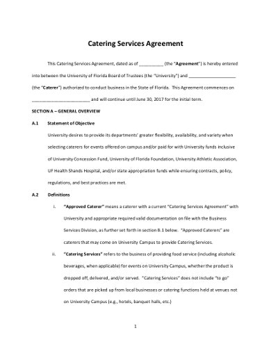 profissional catering contract agreement