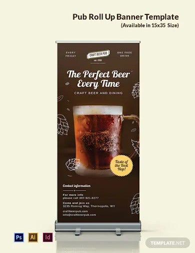 pub roll up banner template