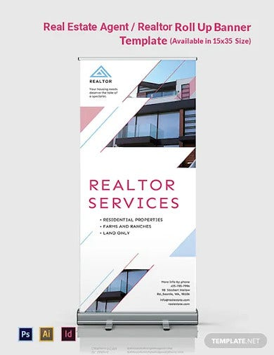 real estate agent realtor roll up banner template