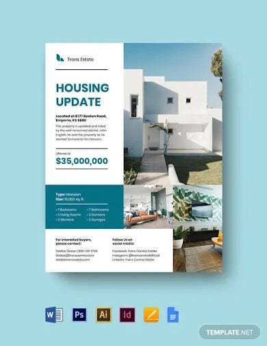 real estate housing update flyer template