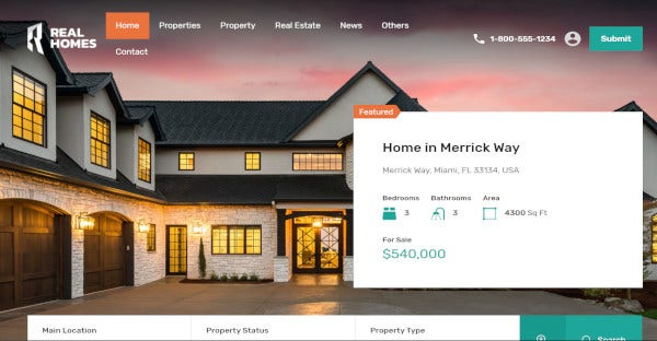 real homes real estate wordpress theme