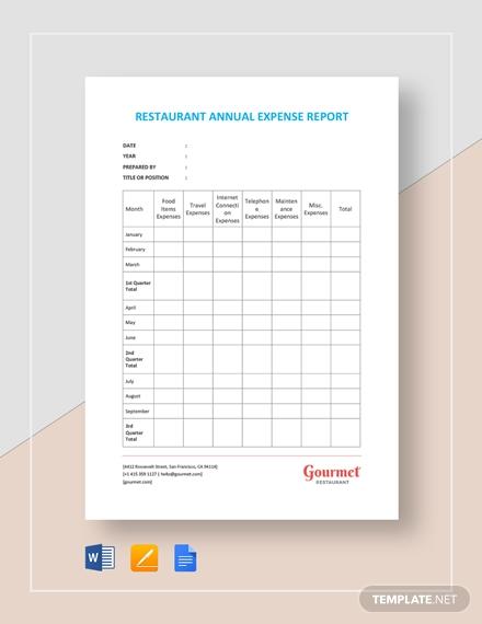 restaurant annual expense report