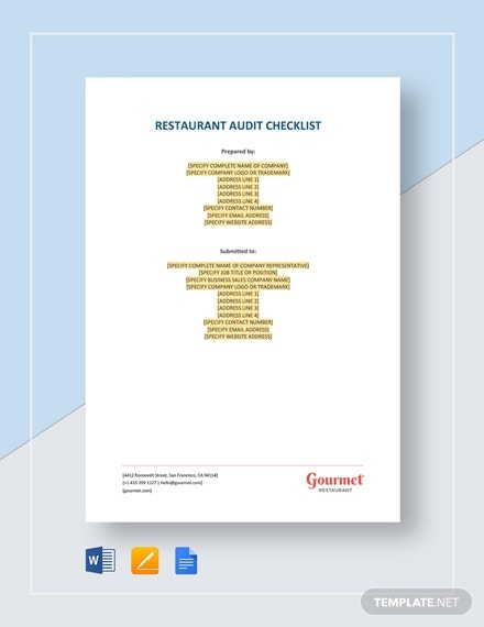 restaurant audit checklist