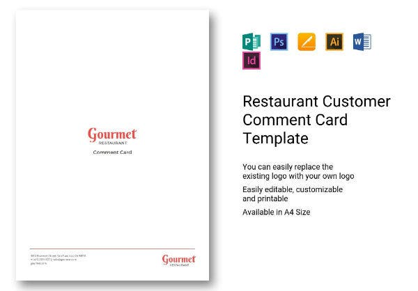 restaurant customer comment card template