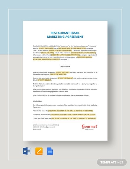 restaurant email marketing agreement template