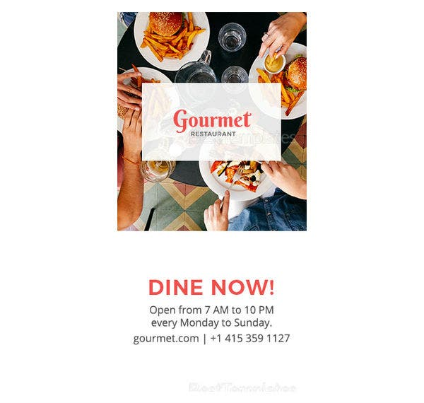 restaurant half page ad template