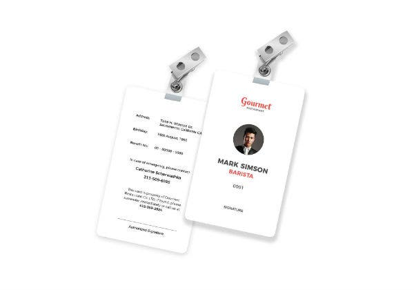 restaurant identity card template