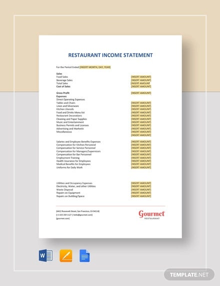 restaurant income statement template
