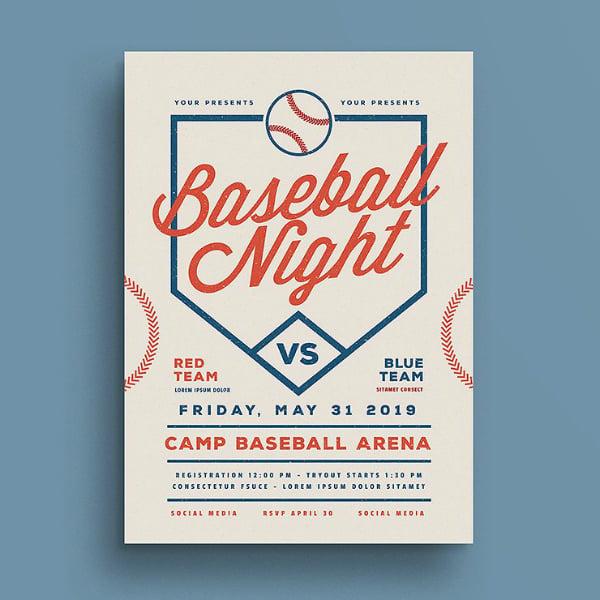 retro baseball sports flyer template