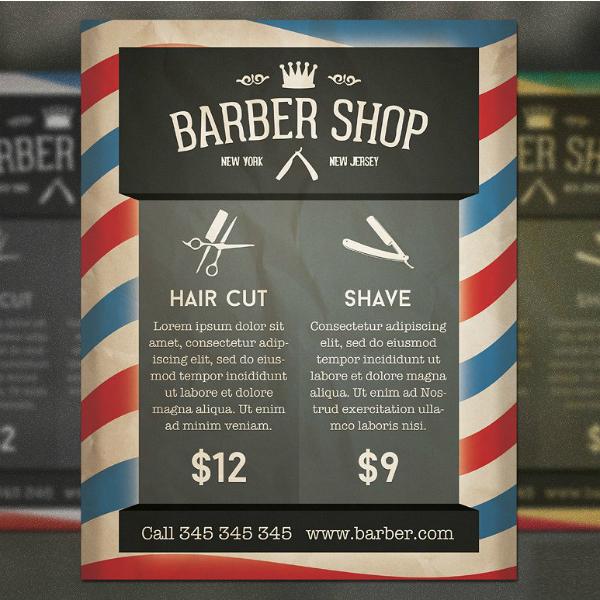 retro style barber flyer design
