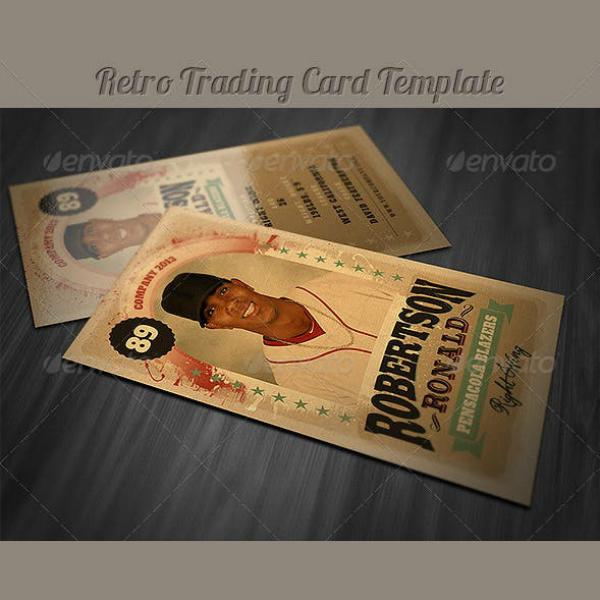 retro theme trading card example