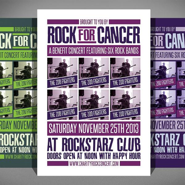 Rock Concert Cancer Flyer Layout