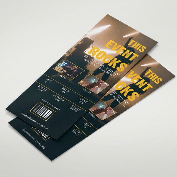 Rock Music Event Ticket Template