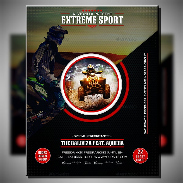 rugged extreme sports flyer sample