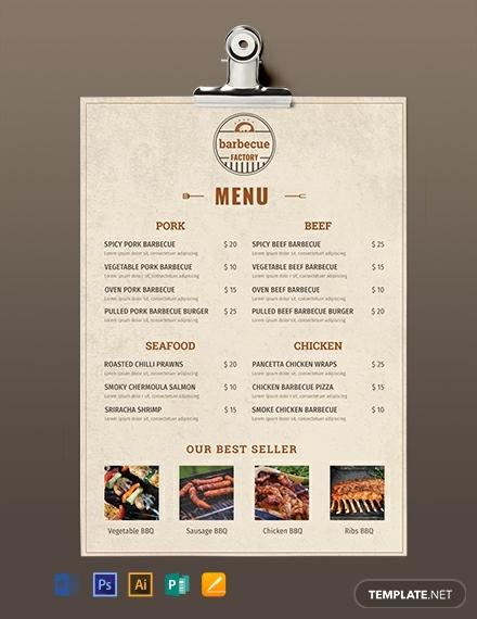 rustic minimal barbecue menu sample